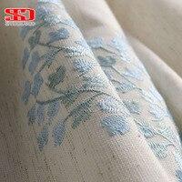 Coton Lin Rideaux Blackout Pour Chambre Tissu Floral Stores Rideaux Bleu Fenêtre Brodé Chinois Cortinas Pour Salon