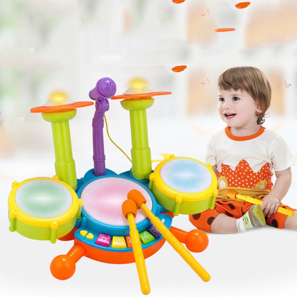 RCtown Kids ensemble de batterie de jouet de lumière Flash dynamique avec Microphone réglable jouet de développement pour les garçons et les filles meilleur cadeau zk30