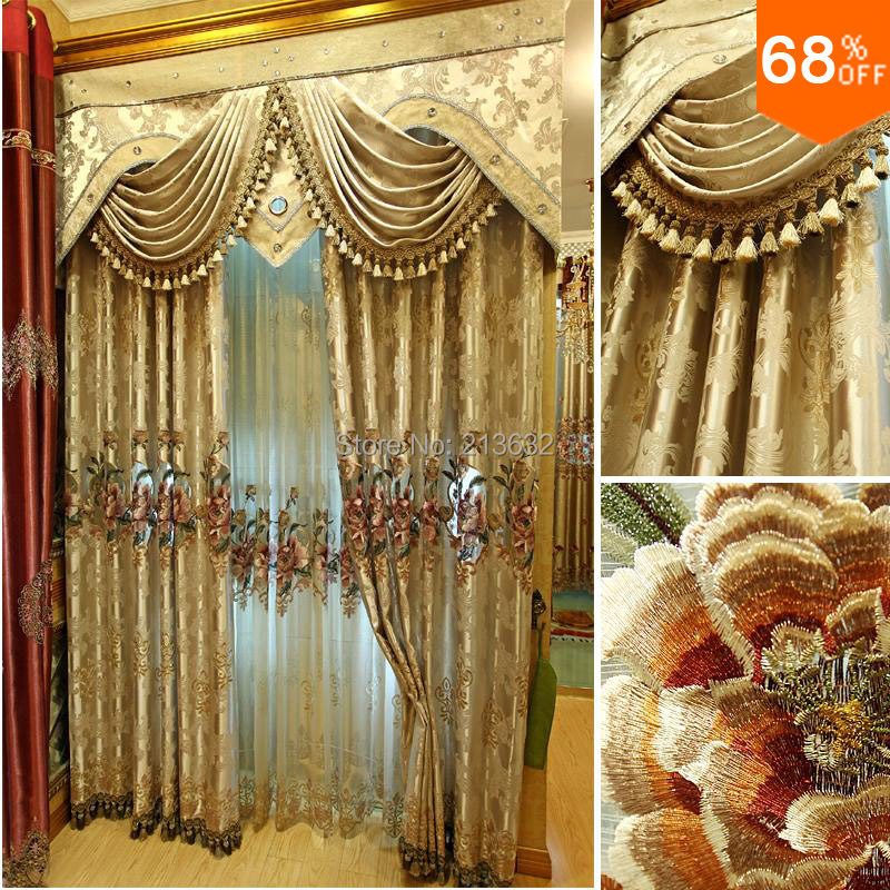 Golden lace curtains Flowers serape luxury curtains tenda porta rideau gorden door curtain drapes window curtain living room