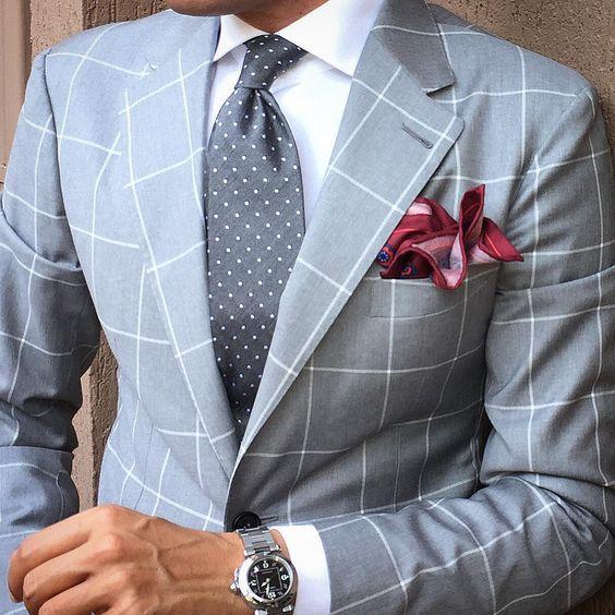Traje de tela escocesa azul claro para hombres Traje / solapa de - Ropa de hombre