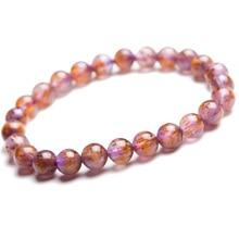 цена 7.5mm Genuine Natural Cacoxenite Purple Rutilated Quartz Bracelets Women Men Stretch Crystal Round Beads Bracelet AAAA онлайн в 2017 году