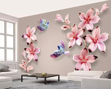 Beibehang Custom wallpaper new Chinese embossed flowers and birds stereo TV background wall living room bedroom 3d