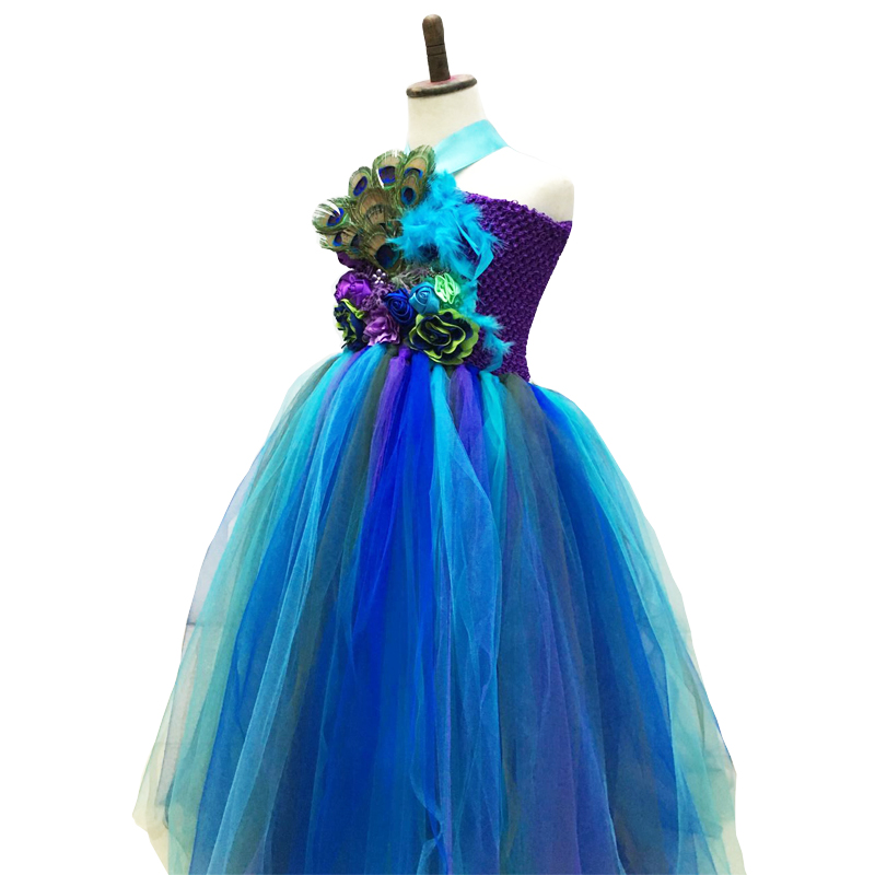 Girls Party Dress Peacock Feather Handwork Kids Princess Kids Ball Gown Tutu Peacock Tulle Dress For Photo props Birthday 2-10Y princess girls peacock tutu dress