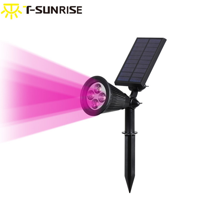 T-SUNRISE Solar Spotlight Outdoor Lighting Adjustable 4 LED Landscape Lights Waterproof Security Lighting For Garden Pink Color