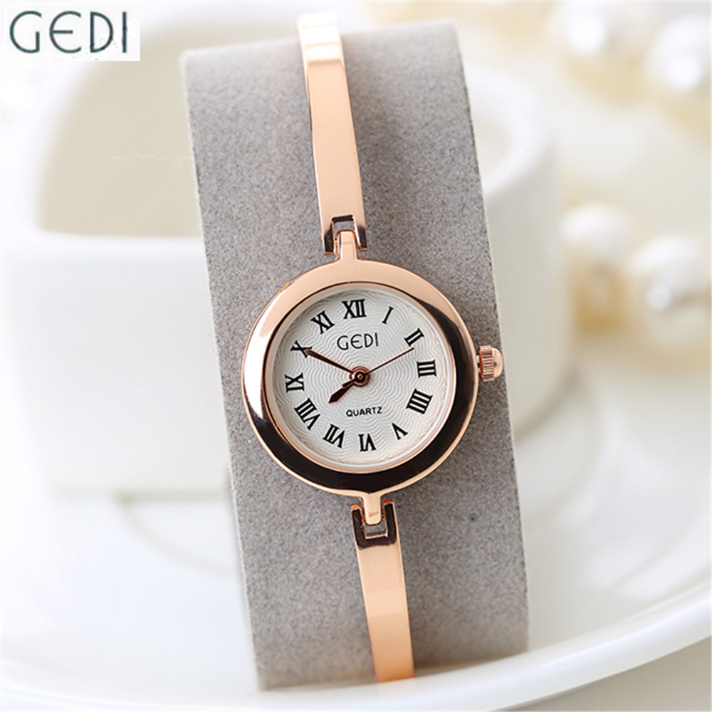 Ladies Watch Stainless Steel GEDI Brand Rose Gold Silver Bracelet Watch 2016 Super Thin Strap Roman Numerals Wristwatch Women hengfang 52135 princess style water resistant eyeliner gel w brush black