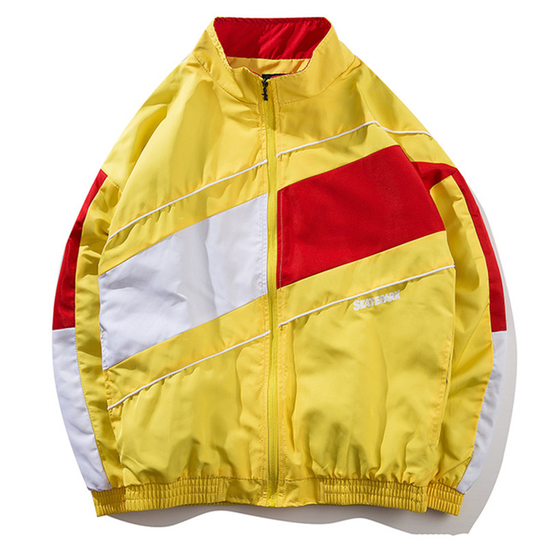 Vintage Multicolor Color Block Patchwork Windbreaker Jackets 2018 Autumn Hip Hop Streetwear Zip Up Track Casual Jackets Coat