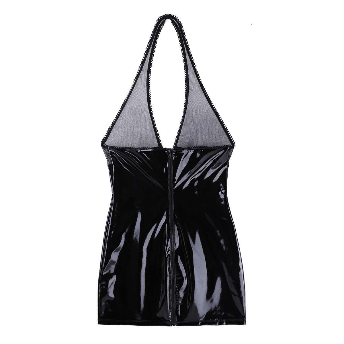 Женское нижнее белье, платье из лакированной кожи, латексное платье, без рукавов, с бретелькой через шею, полупрозрачное, тонкое, вечернее платье, клубная одежда