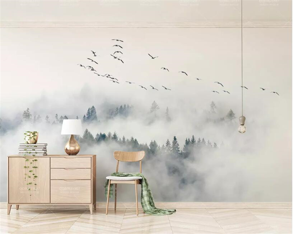 Beibehang Personalizado Papel de Parede Foto Papel de parede mural papel de parede papel de parede Nuvens Pássaro Floresta de Pinheiros de papel papel de parede 3d papel de parede papier peint
