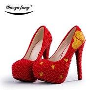 BaoYaFang rouge Perle perles or coeur en cristal De Mariage chaussures femmes De Luxe À La Main parti robe chaussures mode plate-forme chaussures