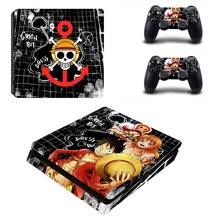 One Piece Vinyl Decal PS4 Slim Skin for Playstaion 4 Console PS4 Slim Skin Stickers+2Pcs Controller Protective Skins