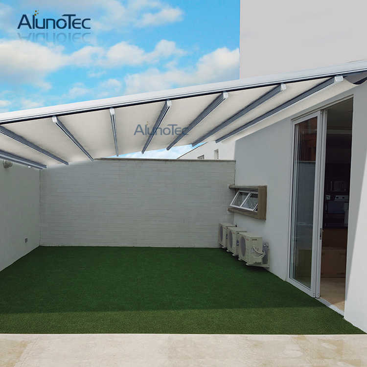 Waterproof Retractable Awning Motorized Pergola Systems 5m width x 5m projection x 3m height