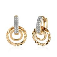 Round Circle Champagne Gold Color Hoop Earrings for Women with AAA Cubic Zirconia Earring Vintage Earring for Sensitive Ears
