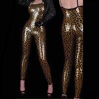 黄金のホットセクシーなヒョウ柄の衣装の女性のジャンプスーツpvcヒョウ革キャットスーツポール