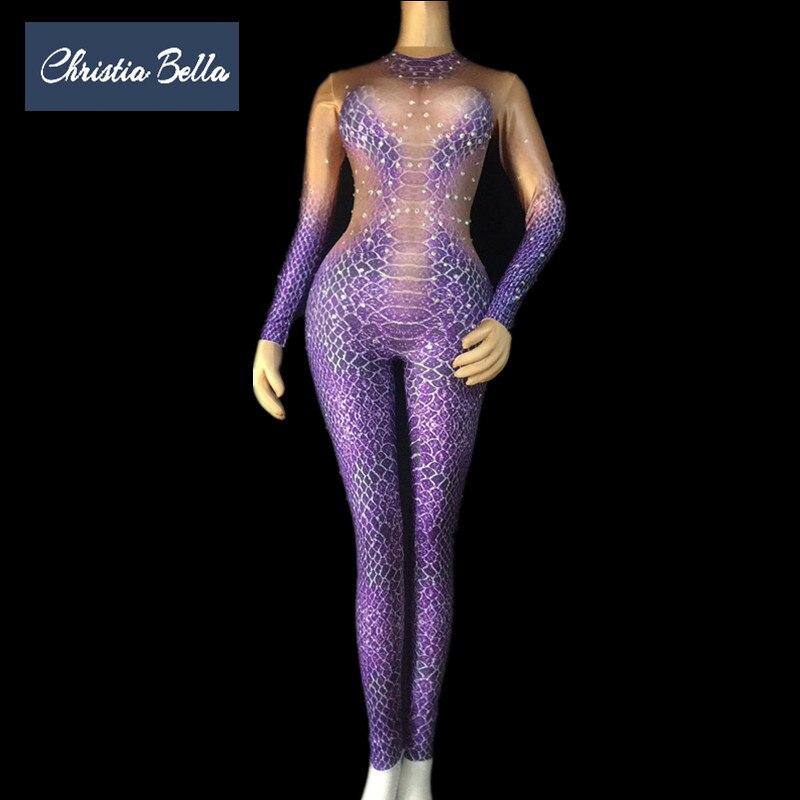 Christia Bella Fashion Purple Snakeskin Pattern Women Skinny Jumpsuits Crystal Stage Bodysuits Nightclub Singer Dancer Clothing
