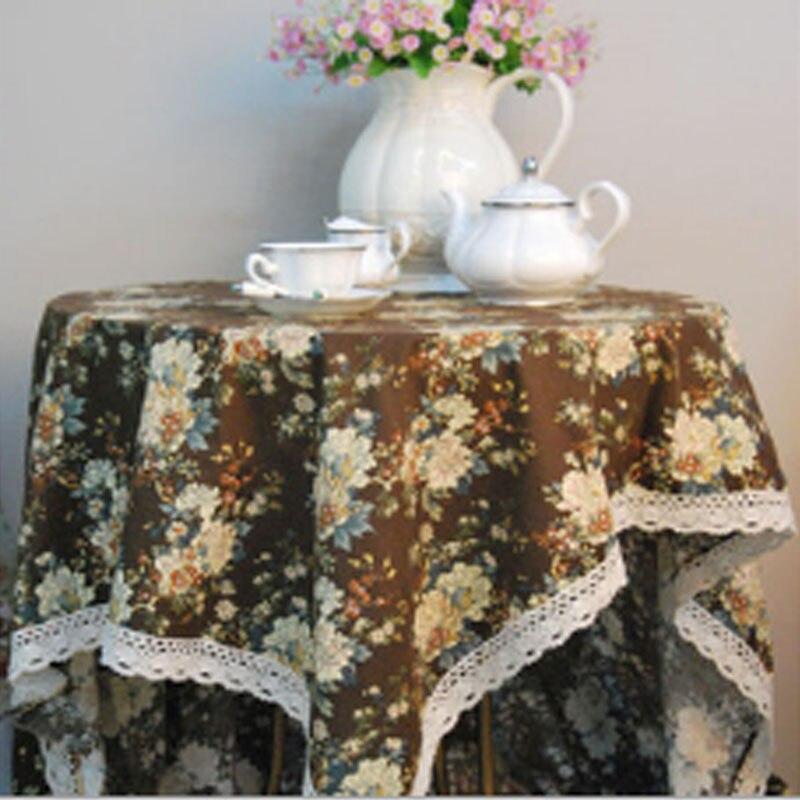 אופנה בית ספה דקור מלון ספקי צד כותנה פשתן חום פרחוני מודפס מפת שולחן תחרה עיצוב רחיץ שולחן בד כיסוי
