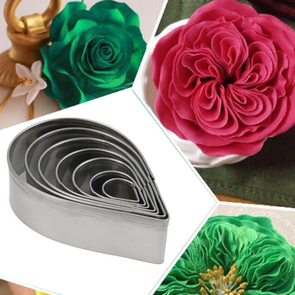 7pcs1set Stainless Steel Rose Petal Cookie Cutter Mold Pastry Mould Sugarcraft Cake Decorating Useful Baking Tool