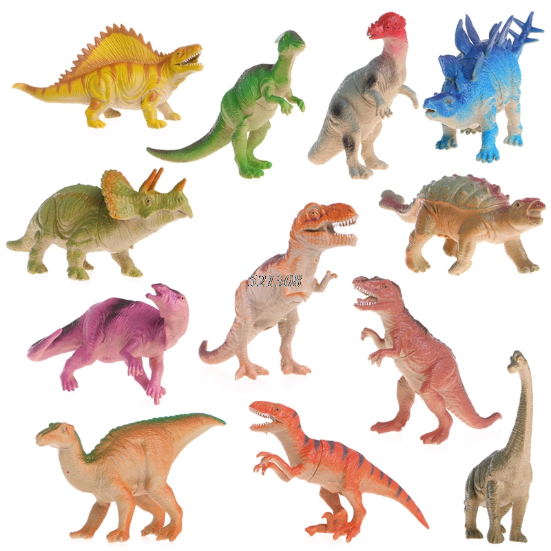 12pcs/lot 15-18cm Dinosaur Plastic Jurassic Play Model Action & Figures T-REX DINOSAUR Toys for Children With no Box 12pcs set children kids toys gift mini figures toys little pet animal cat dog lps action figures