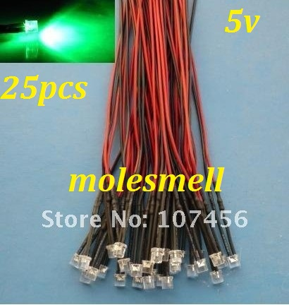 Free Shipping 25pcs 5mm Flat Top Green LED Lamp Light Set Pre-Wired 5mm 5V DC Wired 5mm 5v Big/wide Angle Green Led