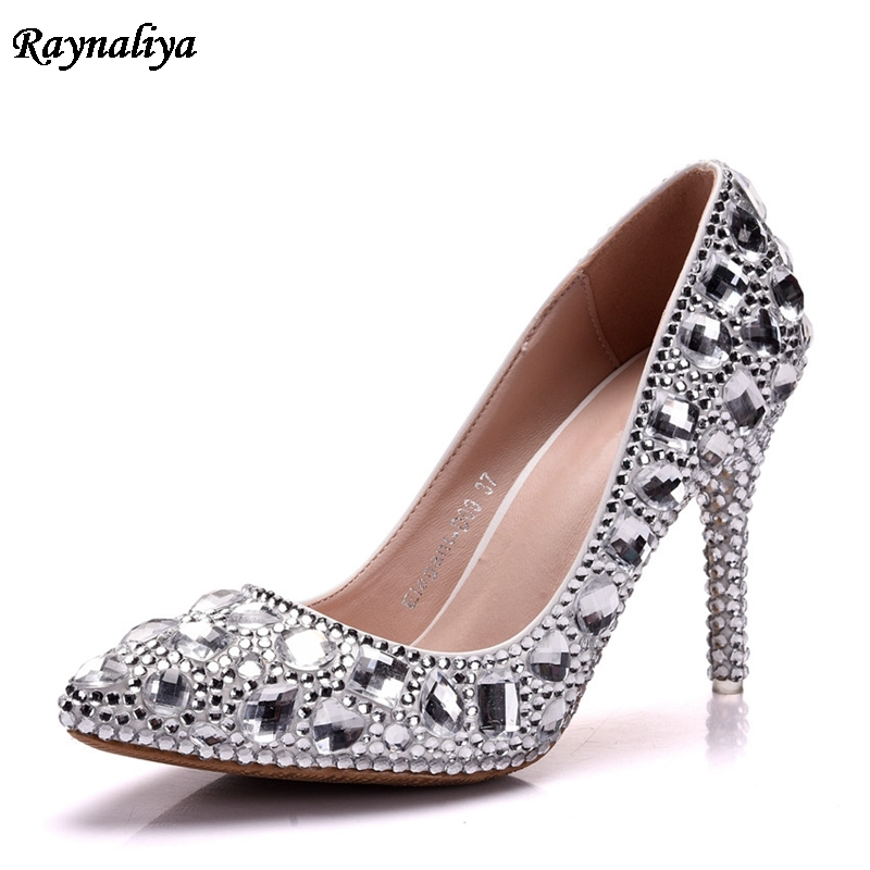 2018 New Crystal Wedding Shoes Thin High Heels Pointed Toe Bride Formal Party Shoes Women 39 s High Quality 9CM Heel XY A0015 in Women 39 s Pumps from Shoes