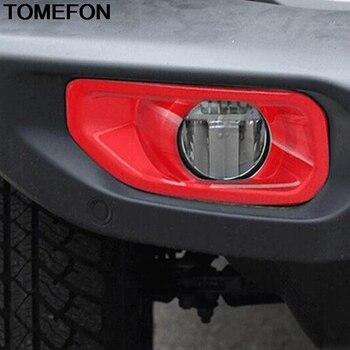 Tomefon untuk JEEP Wrangler SUV 2018 2019 Depan Kepala Lampu Kabut Lampu Cover Trim Kabut Strip Hiasan Aksesoris ABS Chrome merah