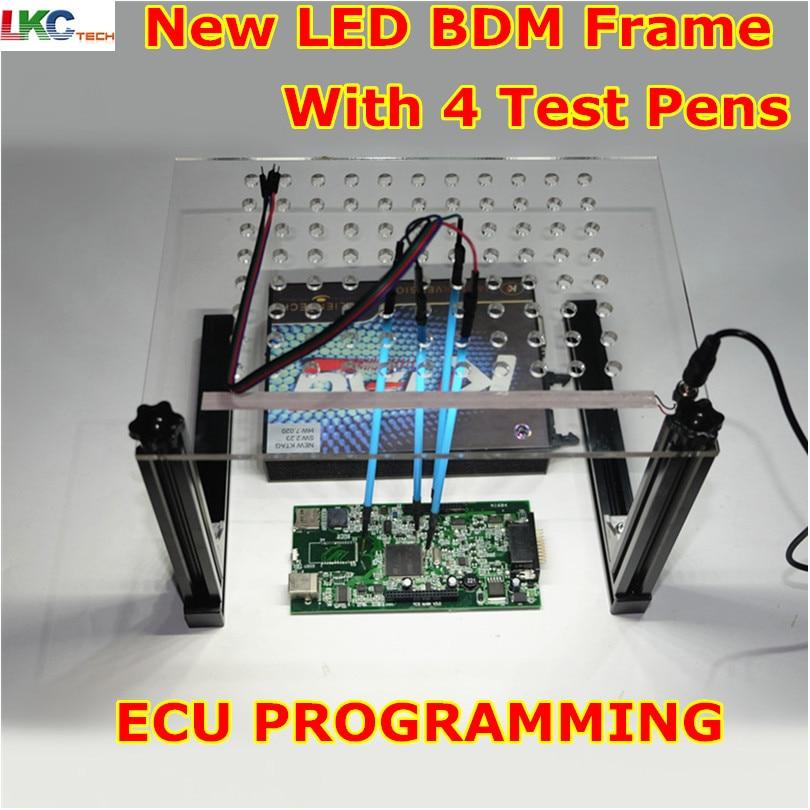 imágenes para DHL Envío LED Viruta del ECU BDM Frame Con 4 Sonda de Plumas Herramienta de adaptación De Kess V2 Ktag K-tag Fgtech Galletto ECU BDM100 programador