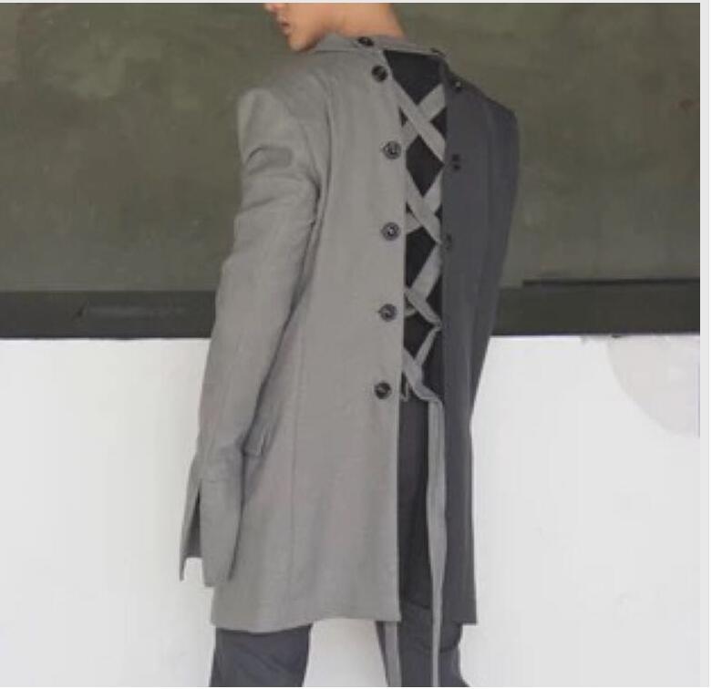 2018  Original Design Of Double Gray Multiple Wear Method Stitching Strap Wide Shoulder Sleeve Jacket  M-6XL! Runway Fashion