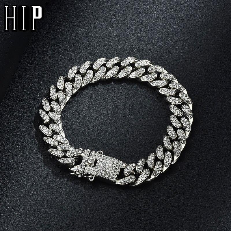Hip hop bling iced para fora miami cubana link chain completo aaa cristal pave masculino pulseira de ouro cor prata pulseiras para jóias masculinas