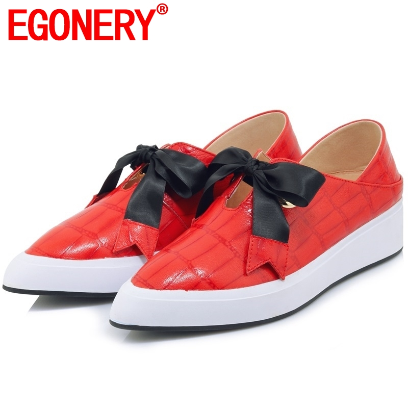 EGONERY women mules shoes platform wedges 4 cm heel slip on brand casual shoes good quality genuine leather pointed toe heels