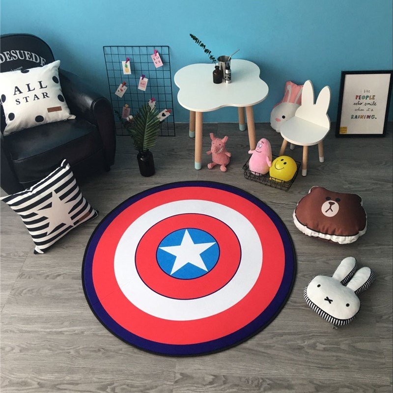 Cute Cartoon Round Captain America Carpet Non-Slip Living Room Kids Room Rug Mat for Bedroom crawling pad Free Shipping