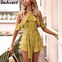 BeAvant Sweet Dot Ruffle Bow Jumpsuit Romper Women Cold Shoulder Sexy Romper Overalls Casual Backless Summer
