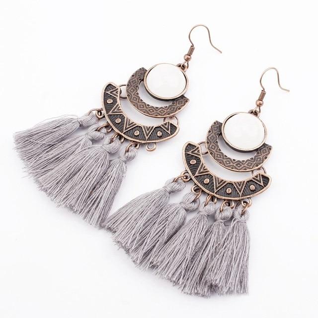 Bohemian Crystal Tassel Drop Earrings For Women Female Fashion Ethnic Long Red Black Fringe Dangle Earring 2019 Jewelry