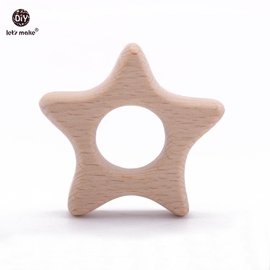 Let's Make 20PCS/lot Wooden Stars Teethers Waldorf Wood Teether Rings Handmade Wooden Toys DIY Pendent Set Baby Teether