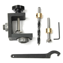 Black Woodworking Hole Three-in-one Punch Locator  Positioner Jig Kit + Step Drilling Bit Wood Tool