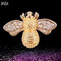 JINSE Fashion Summer Jewelry Broche Gold Plated Cheap Bee Brooch For Scarf Crystal Rhinestone Brooches For Women Girl BOH017
