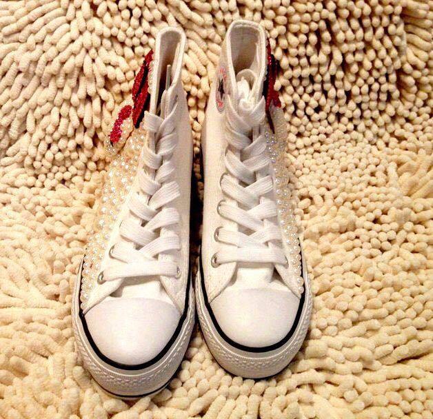 Kitty Chaussures Personnalisé Mignon Toile Plates Ajouter Chaussures Bonjour Main Nouvelle Blanc Strass Japonais Perle yTpBWcA1nq