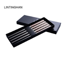 Stainless steel alloy chopsticks 304 high-end meal gift with black gold white square non-slip Chinese plated chopstick