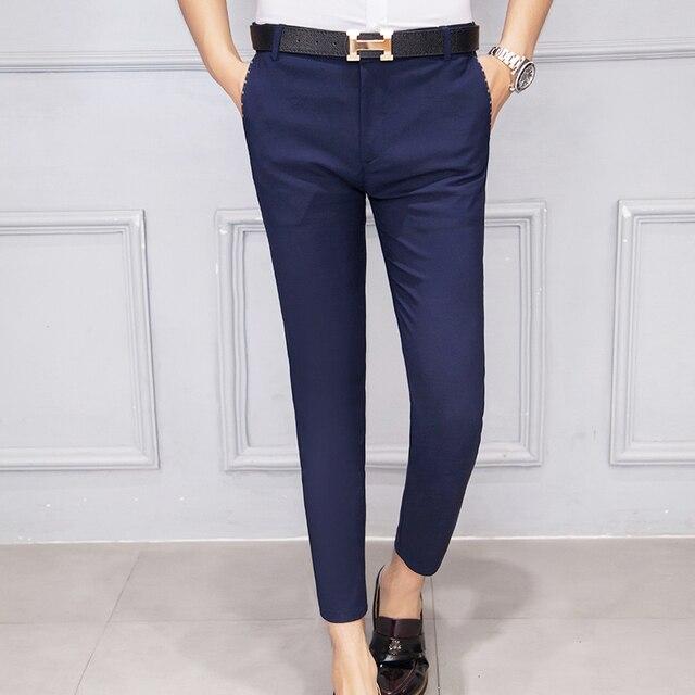 Mens Ankle Length Pants Elegant Male Casual Cotton Trousers Short Homme Brand Clothing Pantalon ...