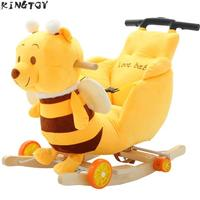 Kid Rocking Chair Baby Bouncer Wood Swing Seat Ride on Animal Toys Music Baby Bouncer Wheel Chair Stroller Baby Bumper