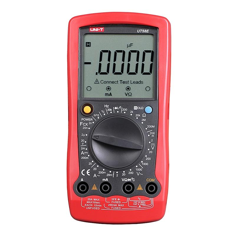 все цены на UT58E Digital Multimeter Ammeter Ohm Volt Meter Capacitance Temperature Digital Universal Meter LCD Count 1999 AVO Meter UNI-T онлайн