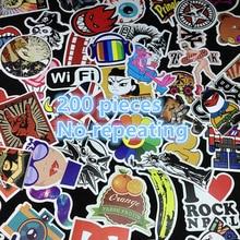 200 шт. Наклейки стайлинга автомобилей смешивания Скейтборд ноутбука Чемодан сноуборд автомобиль холодильник телефон DIY Виниловая Наклейка мотоцикл Стикеры граффити