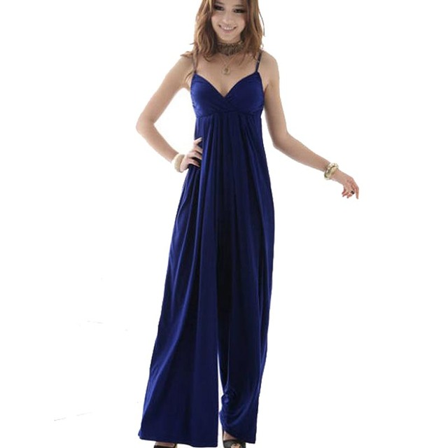 Summer Sexy Charming Deep V-Neck Spaghetti Strap Wide Leg Pants Casual Sleeveless Backless Coveralls Jumpsuits For Women 357