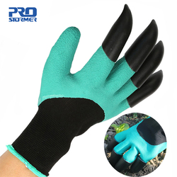 PROSTOEMER Green Garden Digging Gloves with 4 ABS Plastic Claws for garden Digging Planting 1 pair Garden Digging Gloves Tools