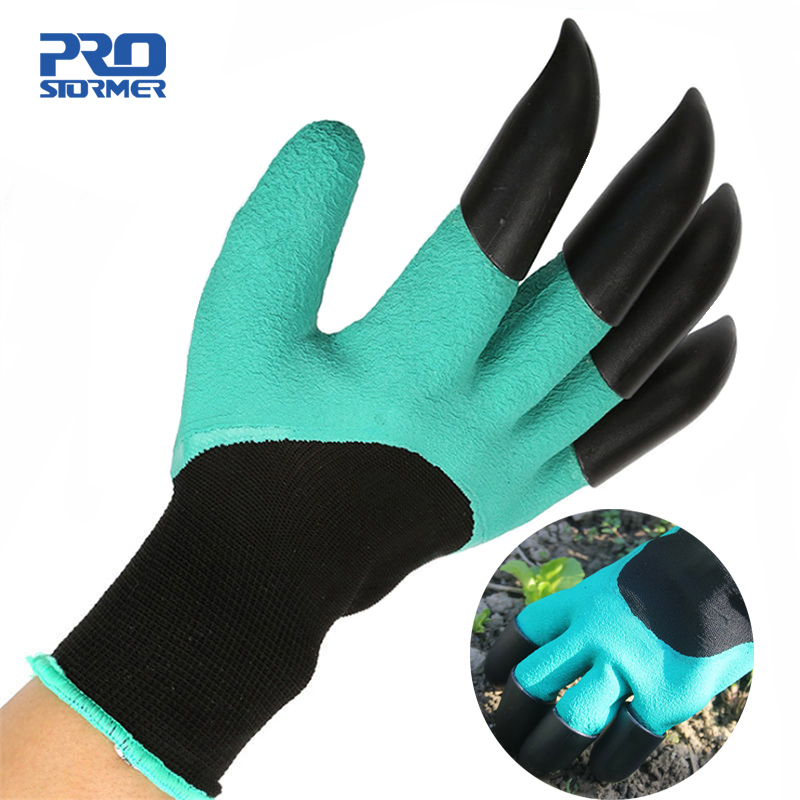 Prostormer Groene Tuin Graven Handschoenen met 4 ABS Plastic Klauwen voor tuin Graven Planten 1 paar Tuin Graven Handschoenen Gereedschap