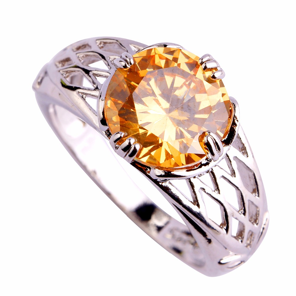 Wholesale Fashion New Lady orange & White hollow 925 Silver Ring Size 6 7 8 9 10 Facile Design Noble European Jewelry