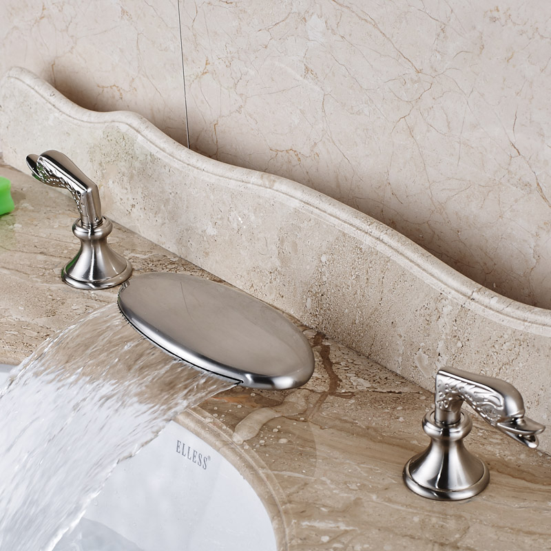 Modern Warerfall Curved Spout Bathroom Faucet Dual Handle Brushed Nickel Hot and Cold Water Taps