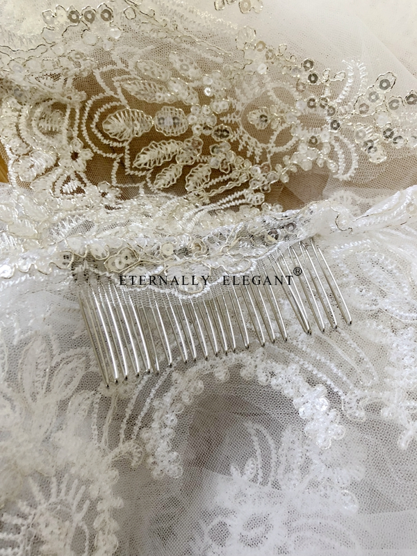 Image 5 - Real Photos 2018 White/Ivory Wedding Veil 3M With Comb Lace Beads Mantilla Bridal Veil Wedding Accessories Veu De Noiva MD47ivory wedding veilwedding veilwedding veil 3m -