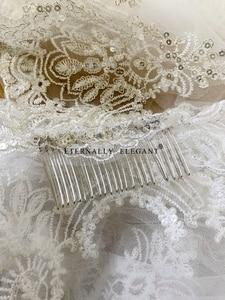 Image 5 - Voile De mariage blanc/ivoire, 3M, avec peigne, en dentelle, perles, manteau De mariée, accessoires De mariage, MD47, photo réelle, 2018