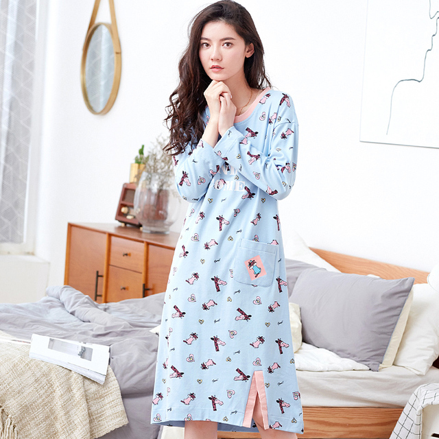Spring 100% Cotton Nightgown Women Sweet Girl Lounge Nightdress Femme  Sleepwear Casual Nightwear Loose Nightgowns Sleepshirts f9d240da2