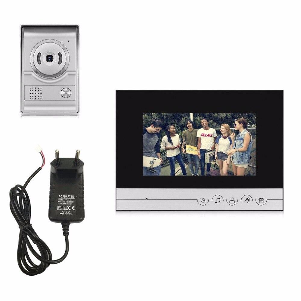 цена XSL-V70R-L+ 15V Wired Visual Doorbell Video Intercom 7 Inch TFT-LCD Door Phone Infrared Night Vision Doorbell Home Security