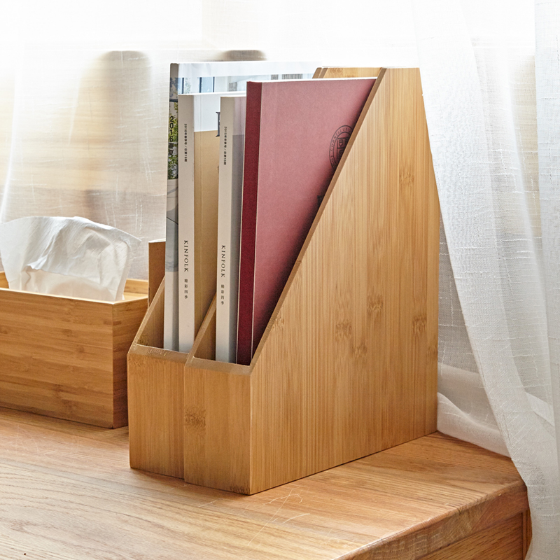 Desktop Bamboo Wood File Storage Box Document Books Magazine Holder Sorter Office Home Desk Hanger File Basket Shelf Organizer 1